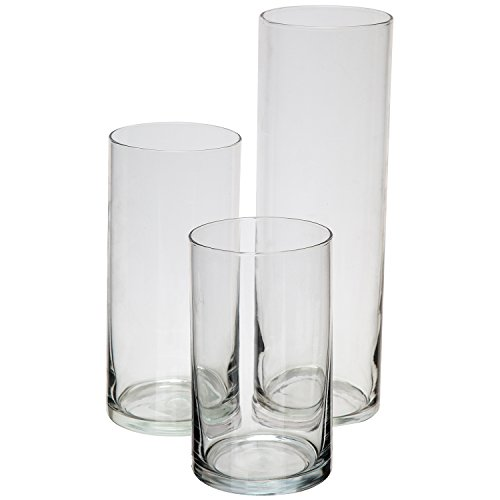 Royal Imports Glass Cylinder Vases Set of 3 Decorative Centerpieces for Home or Wedding