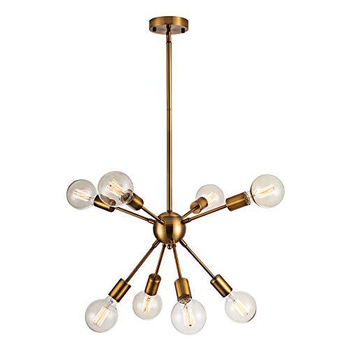 YMLL Moderno Sputnik Lámparas de araña, Iluminación Colgante de Techo, Latón Dorado Fixture para la Cocina, Comedor, Dormitorio, Café, Bar - 8 Luces