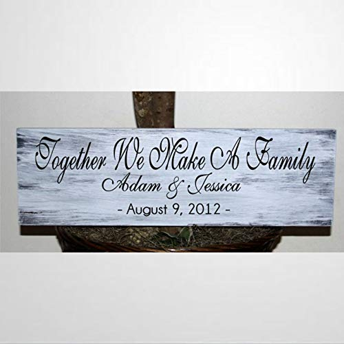 BYRON HOYLE Primitive Together We Make A Family with Names and Date Wood Wall Decor Sign,Custom Wood Sign,Wooden Plate Art for Easter Day of Padre Dia de la Madre, Hogar, Jardines