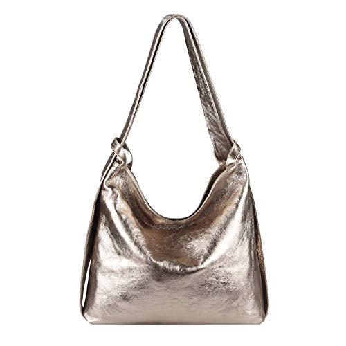 OBC Made in Italy Damen Echt Leder Tasche Rucksack 2 in 1 Umhängetasche Metallic Schultertasche Daypack Rucksacktasche Shopper Backpack Cityrucksack Freizeitrucksack (Bronze (echtes Leder))