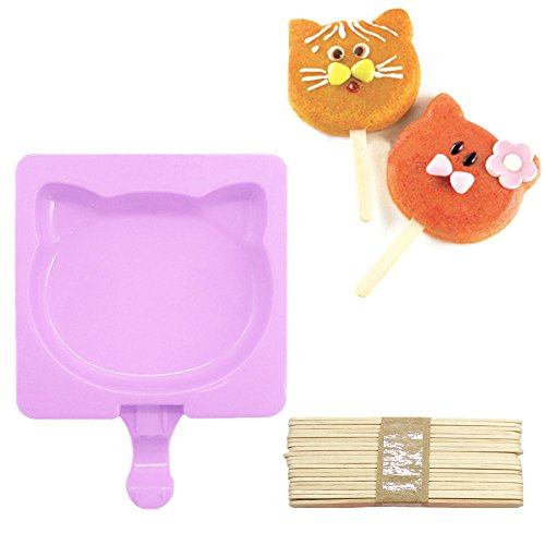 Popsicle Ice Mold Maker Set - 1 Pack No BPA Reusable Ice Cream DIY Pop Molds Holders With Tray and 20 Wood Sticks Popsicles Maker Fun for Kids and Adults Best for Party Indoor and Outdoor