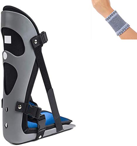 Amsahr Einstellbare Knöchel Fuß-Orthese Immobilisation Kniegelenk Feste Fuß- und Fußgelenkstütze - Universal 36-46 cm (Fußlänge) - inklusive Handgelenk-Band