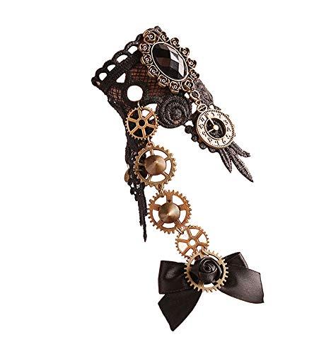 Charm.L Grace Gothic Black Lace Bracelet Steampunk Vampire Slave Flowers Wristband Ring Wedding Accessories