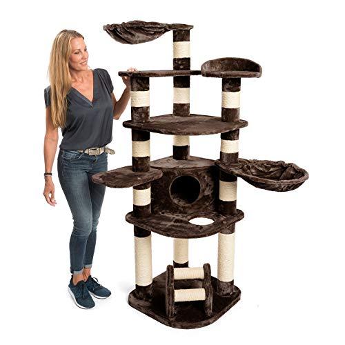 JAMAXX Premium XXL Rascador para gatos grandes, altura de 175 cm, grosor extra de 11 cm, troncos estables y suaves peluches, PCT6003, marrón chocolate