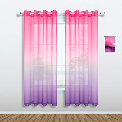 Pink and Purple Curtains for Girls Bedroom Decor Set 1 Single Panel Grommet Window Voile Pastel Sheer Ombre Rainbow Curtain for Kid Room Decoration Teen Princess 72 Inch Length Gradient Lilac Lavender