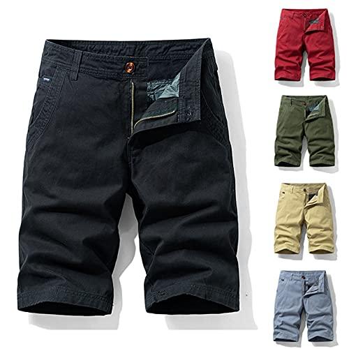 Pantalones cortos cargo para hombre, de verano, de un solo color, con bolsillos, informales, cómodos, para exteriores, con botones, pantalones cargo con bolsillos, hip-hop, para uso urbano, caqui, 36