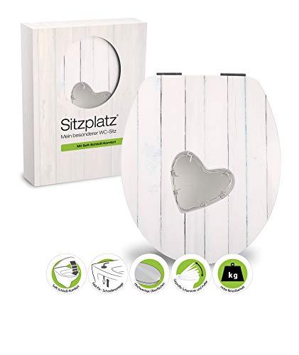 SITZPLATZ - 40357 3 - WC-Sitz High-Gloss - Dekor Drahtliebe - WC Brille mit Absenkautomatik - Toilettensitz mit Holz-Kern & Fast-Fix Schnellbefestigung