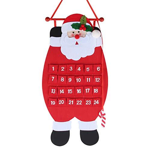 Calendrier de l'Avent de Noël à Suspendre, Calendrier de l'Avent à Remplir Soi Meme, Calendrier de Lavent Réutilisable avec 24 Pochettes en Tissu, Beau Calendrier de Noël DIY, Décoration (père Noël)