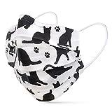 tanzmuster ® Gesichtsmaske für Erwachsene - Stoffmaske mit Nasenbügel und Filtertasche - Alltagsmaske waschbar - 100% Baumwolle OEKO-TEX Standard 100. Hauchdünn 08-Katzen M/L