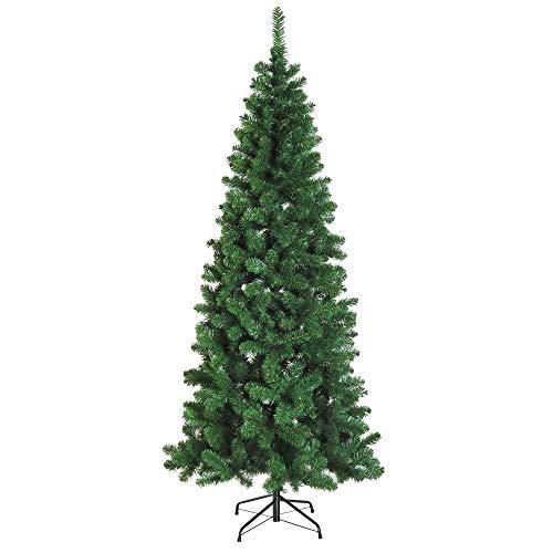 homcom Albero di Natale Artificiale Slim con 631 Rami Supporto in Metallo Altezza 210cm