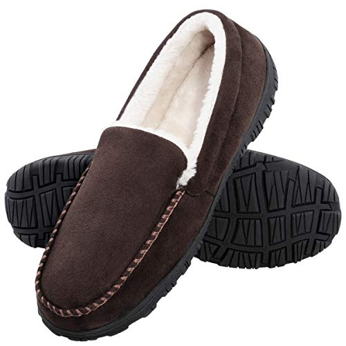MIXIN Slippers for Men Indoor Outdoor Warm Moccasin Anti-Slip House Shoes with Memory Foam Brown 11M