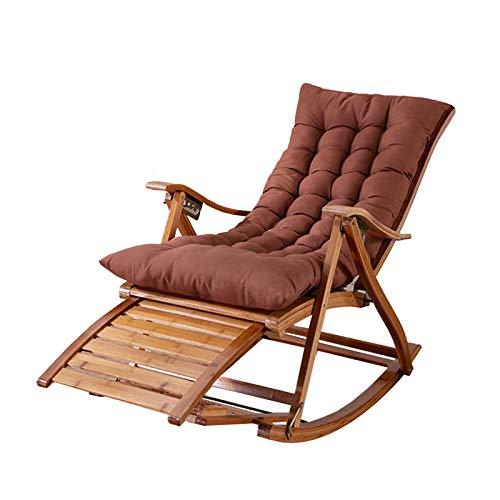 XEWNEGTZI Verstellbare Liegen Klappbarer Schaukelstuhl Aus Bambus Mit Abnehmbarem Wattepad Für Sonnenliegen Im Innenbereich, Garten 200 Kg(Color:Stuhl + braunes Kissen)