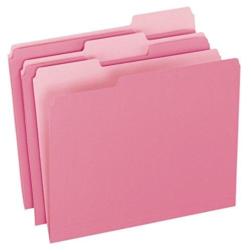 Pendaflex Two-Tone Color File Folders, Letter Size, 1/3 Cut, Pink, 100 Per box (152 1/3 PIN)