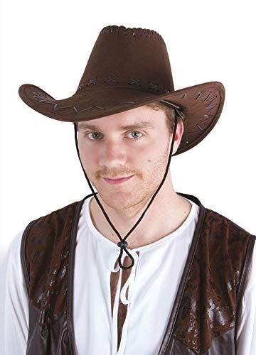 Chapeau imitation nubuck cow boy avec surpiqures