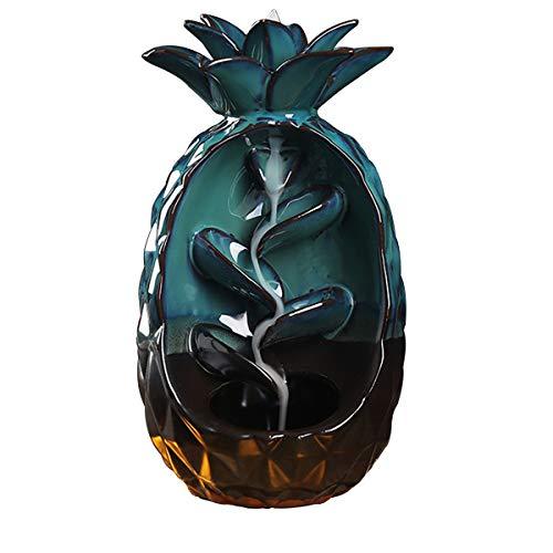 LACKINGONE Räucherstäbchen Halter mit Rückfluss Keramik Räuchergefäß in Ananas-Formen Rauchen Fluss Räucherkegel für Aromatherapie, Wohnkultur, Yoga, Teezeremonie, Diffusoren, 19.9 * 11.5 * 10.5
