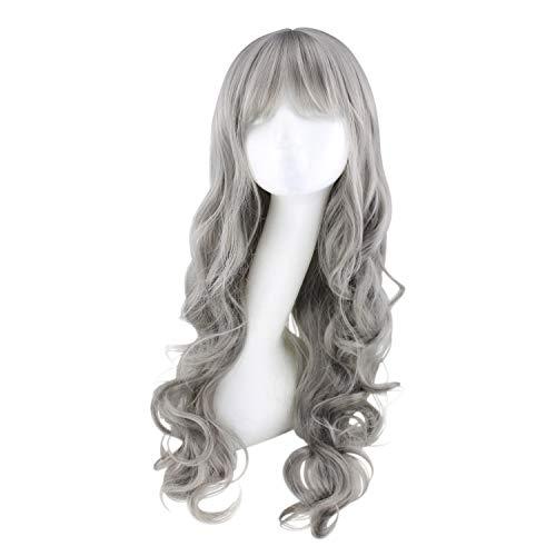 Perücke, 60cm Graue Perücke Kunstfaser Hochwertige Haarteile, Perfekt für Halloween, Konzerte, Hochzeiten, Partys, Cosplay, Passt den meisten Menschen (Grau)
