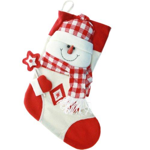 WeRChristmas - Calza di Natale con pupazzo di neve 3D, in tartan, colore: rosso/bianco, dimensioni: 48 cm