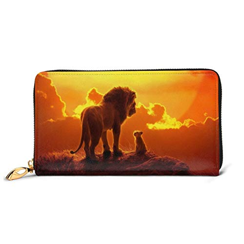 Lion King Cartera larga de cuero Billfold Advanced impermeable carteras lujo moda monedero para cremallera alrededor del titular de la tarjeta grande bolso de viaje bolso embrague tamaño único