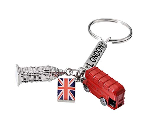 Schlüsselanhänger, Taschenschmuck, Symbol London, Bus, Big Ben, Flagge UK Souvenir London