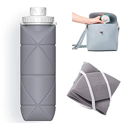 SPECIAL MADE Collapsible Water Bottles Leakproof Valve Reuseable BPA Free Silicone Foldable Water Bottle for Sport Gym Camping Hiking Travel Sports Lightweight Durable 20oz 600ml Grey