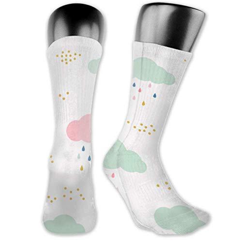 Calcetines Leila Marcus para hombres y mujeres son cómodos, ligeros y sudorosos, divertidos para hombres, con diseño de nubes de lluvia, medias y largas.