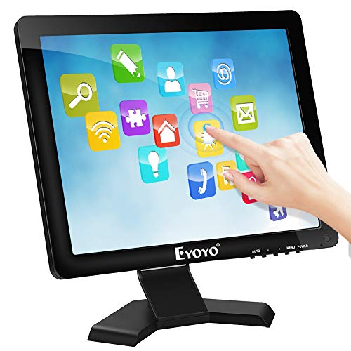 Touch Screen LCD Monitor 15 Inch POS Monitor TFT Touchscreen 1024×768 4:3 Display w/HDMI VGA Inputs Built-in Speaker
