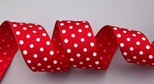 Dekoband Punkte ROT/Weiss 3 m x 40 mm (1,00€/m) Geschenkband Stoffband mit Draht Taftband gepunktet Polka Dot fröhlich Frühling Ostern Geburtstag Drahtkantenband Kinder Schleifenband von FINEMARK