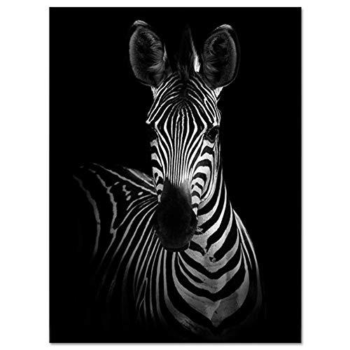 Bilder Auf Leinwand,Schwarze Und Weiße Tier Zebra, Fashion Dekor Leinwand Gemälde Kunstdruck Poster Bild Wand Schlafzimmer Wohnzimmer Dekoration Malerei Wandbild