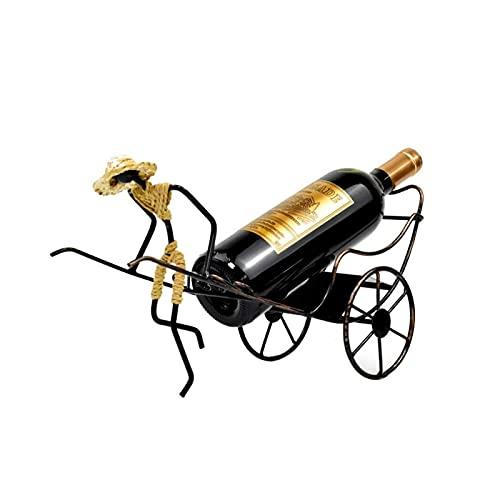 Titular de la botella de vino de metal Soporte de la botella de vino de la tapa del rickshaw Tenedor de la botella de vino de la decoración de la encimera única para la pared del refrigerador del refr