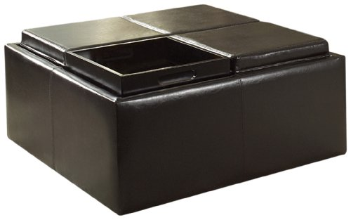- Homelegance Contemporary Storage Ottoman with Four Flip Top Tray Inserts, Dark Brown Faux