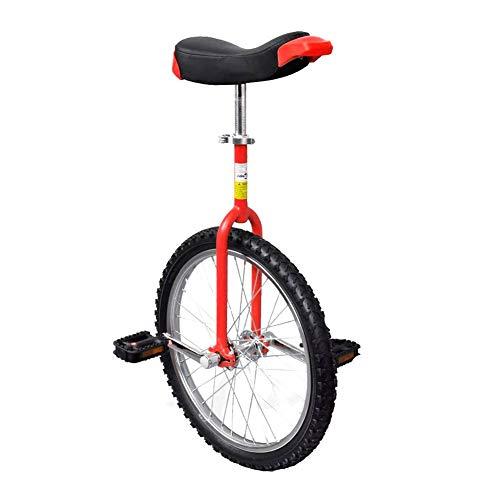 AYNEFY - Monociclo para adultos, monociclo deportivo, color rojo, ajustable, 20 pulgadas