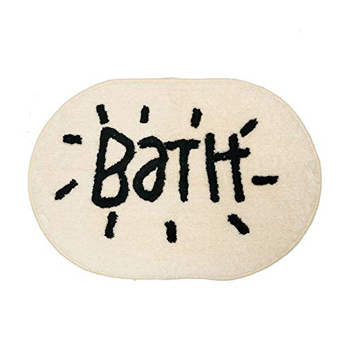 Colorpapa Round Bath Mat Bathroom Door Mat with Word Bath Pattern Funny and Cute Toilet Bath Rug Non-Slip Design and Water Absorption (25.5''X17.5'')