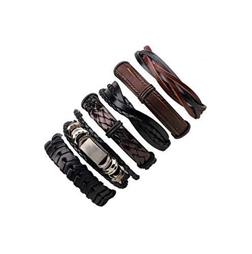 Ethnic Tribal Wrap reizend Schwarze geflochtenes Leder Armbänder Armbänder, H2358