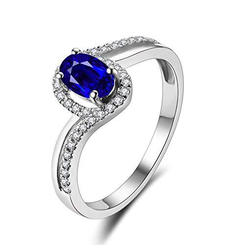 KnSam Joyas-Amor por Siempre&Anillos de Boda Diamante Anillo de Diamante 0.5CT de 18K de Oro Anillo de Plata de la Talla de 22