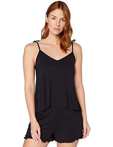 Iris & Lilly Pijama de Felpa Mujer, Negro (Black), M, Label: M