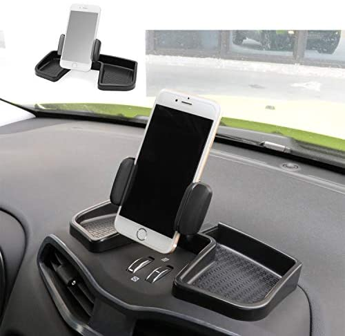Camoo for Jeep Renegade Phone & GPS Car Holder 360 Degree Rotation with Organizer Storage Adjustable Auto Mobile Holder Stand Kit Fits Jeep Renegade 2015-2021 (Black
