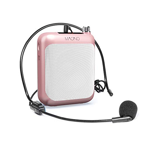 Maono AU-C01 Portable Rechargeable Voice Amplifier with FM Radio, LED Display, Wired Headband Microphone, Speaker and Waistband, Support MP3/TF Card (Rose Gold)