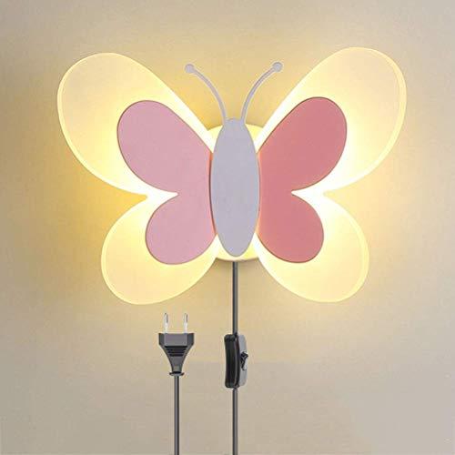 Wandlamp kinderen met schakelaar en stekker, Muur licht met snoer binnenin vlinderlamp meisje kinderkamer, lamp jongen cartoon slaapkamer bedlampje, driekleurige LED-wandverlichting dimbaar, Pink-B