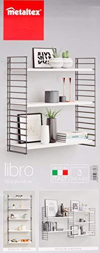 Tomado Zeitloses und modulares Wandregal, weiß/schwarz, 70x21x68 cm