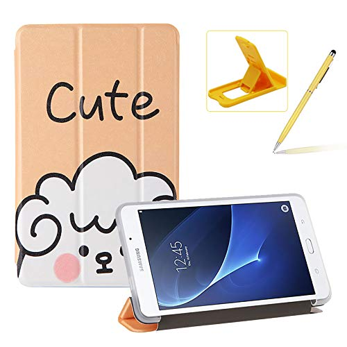 Herzzer Three Fold Leather Case for Samsung Galaxy Tab A 7.0 2016,Slim Multi-Angle Folio Stand Premium Colorful Print PU Leather Protective Smart Cover with Clear Back Case,Cute Sheep