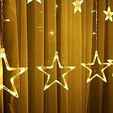 Lichterkette mit LED Kugel weihnachtsdeko,12 Sterne Lichtervorhang, Weihnachts-Innenbeleuchtung, Lichterketten für Innenräume, 8 Modi Innen & Außenlichterkette Wasserdicht, Warmweiß Sternenvorhang - 9