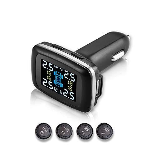 Sistema de monitoreo de presión de neumáticos TPMS con toma USB, enchufe de encendedor de cigarrillos Sistema de alarma de automóvil inalámbrico universal Pantalla LCD con 4 sensores externos (TPMS ex