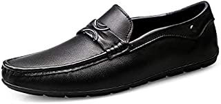 Leather Loafers for Men Flat Casual Shoes Slip on Round Toe Genuine Leather Solid Color Anti-slip Fashion T shoes (Color : Black, Size : 38 EU)