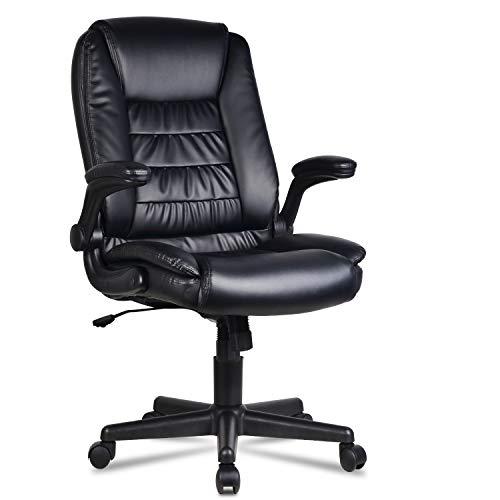 LENTIA Bürostuhl schreibtischstuhl aus Verstellbarer Drehstuhl Chefsessel Ergonomischer Computerstuhl Office Stuhl bis zu 160 kg belastbar schwarz (Drehstuhl)