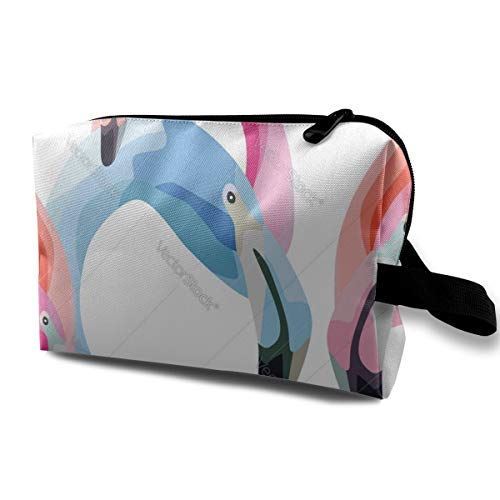 Pink Blue Flamingo Head White Cosmetic Beauty Bag Cosmetic Makeup Bag Waterproof Women Girl