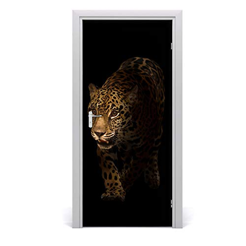 Tulup Pegatina de la puerta - 95x205cm - Etiqueta Autoadhesivo Decoración impermeable Reutilizable - habitación sala de estar - Jaguar