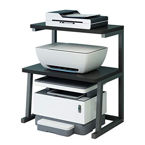 Desktop Printer Bracket 2-Layer Printer Stand Metal Fixed Frame Side Frame, Used for Office Fax Machine Shelf Home Printer Desk (Color : Black)