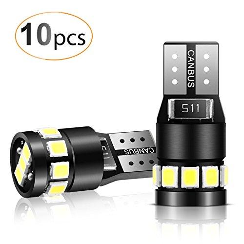 10 Paquetes T10 LED Canbus Bombillas de 6000K, AGPTEK T10 W5W Bombilla LED Blanco Super Brillante para Coche de Interior y Exterior