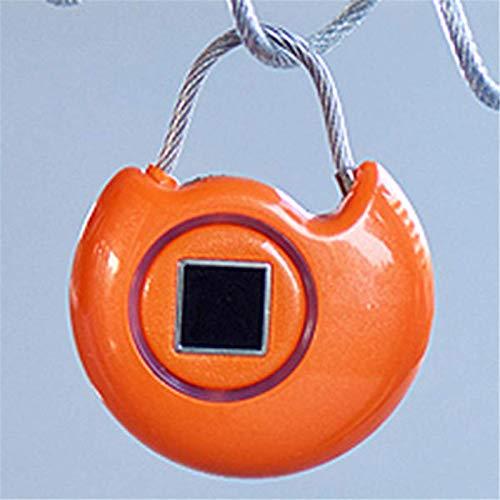 Candado de huellas dactilares inteligente con huella dactilar, seguridad USB, bloqueo de viaje inteligente para exteriores, gimnasio, escuela, gabinete, garaje (tamaño: tamaño libre; color: naranja)