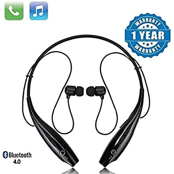 Techfire HBS 730 Wireless Neckband Bluetooth Earphone Headset Earbud Portable Headphone Handsfree Sports Running Sweatproof Compatible Android Smartphone Noise Cancellation - (Black)